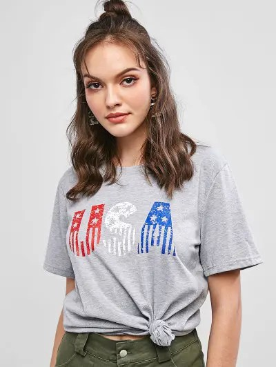 American Flag Letter Graphic Tee