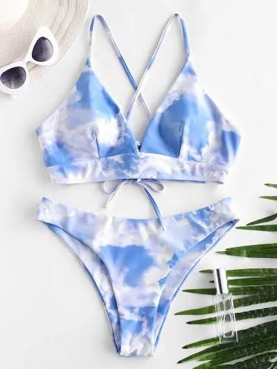 Sky Print Lace Up Bikini Swimwear