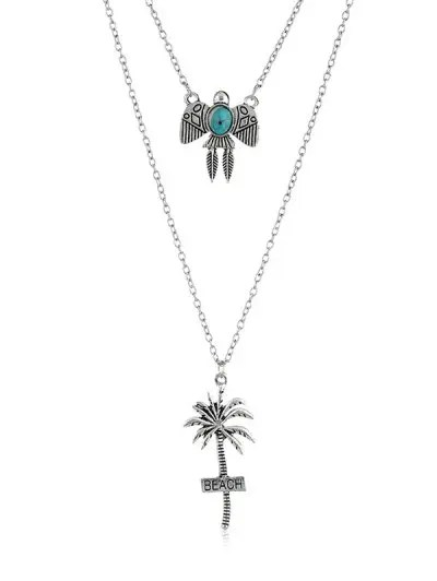 Kite Coconut Palm Beach Layered Pendant Necklace