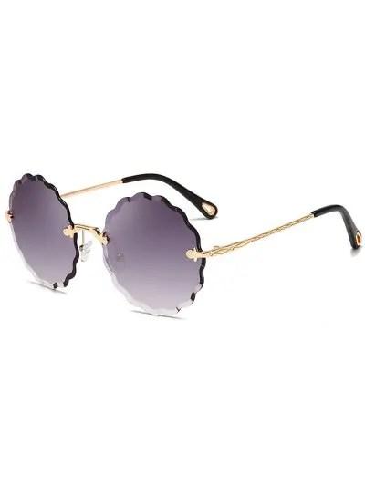 Round Rimless Wavy Frame Sunglasses