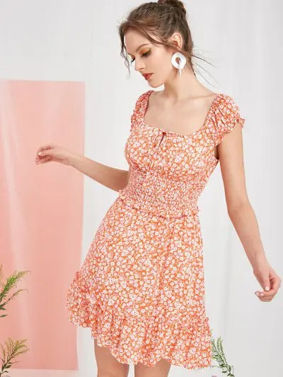 Ditsy Floral Frilled Mini Smocked Dress