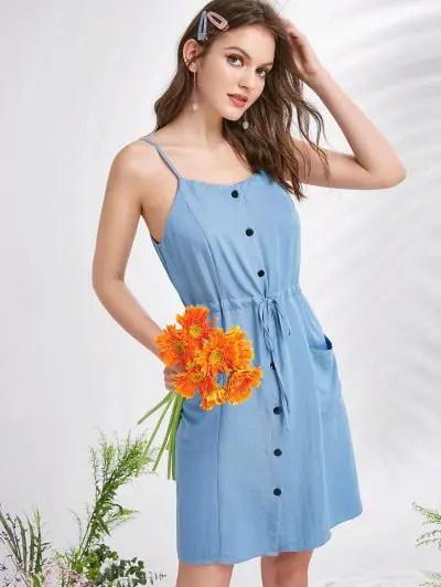 Pockets Button Up Mini Dress