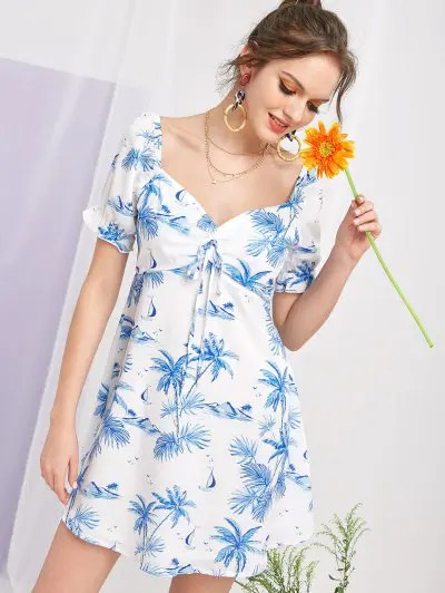 Coconut Palm Sweetheart Neck Dress