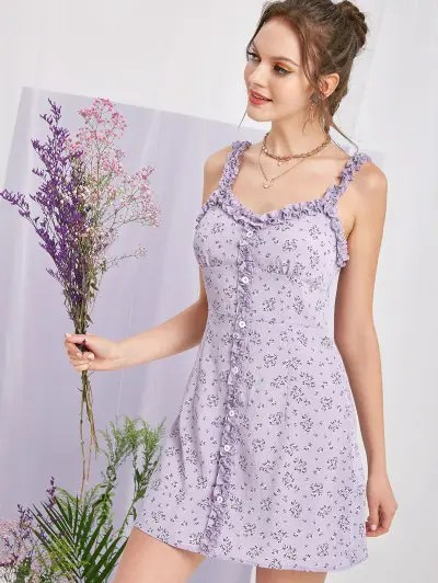 Tiny Floral Lettuce Dress