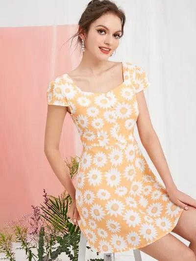 Buttoned Sunflower Milkmaid Dress