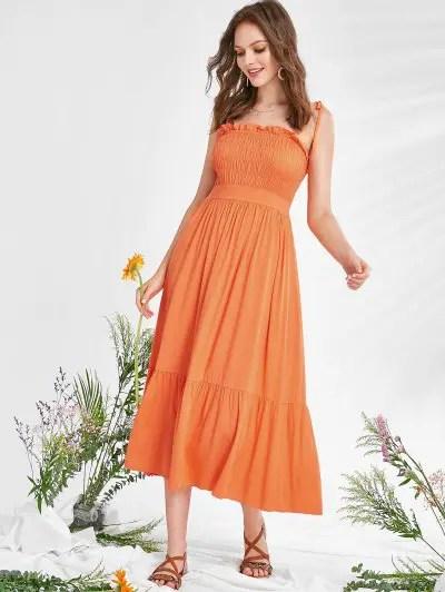 Ruffle Ruched Cami Dress