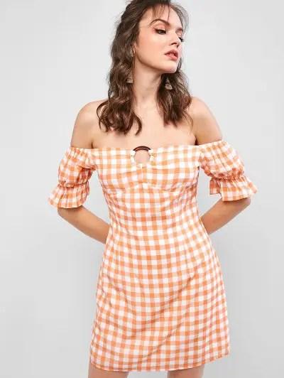 Off Shoulder Plaid Dress