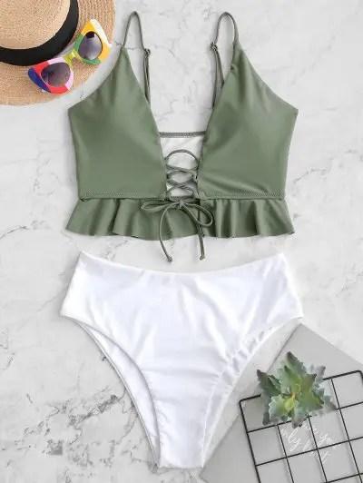 Lace Up Peplum Tankini Swimsuit
