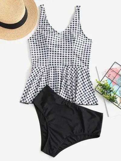 Plaid Peplum Tankini Swimwear