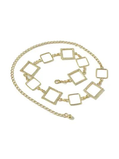 Rhinestone Alloy Geometric Waist Chain