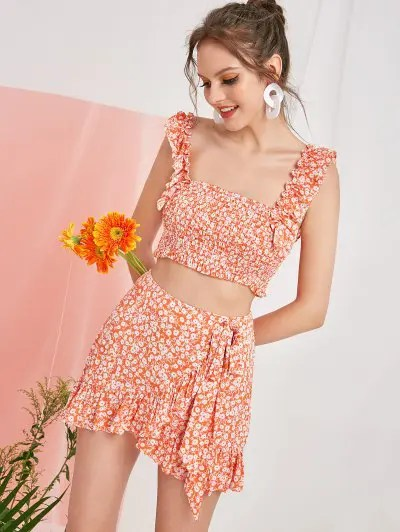 Smocked Tiny Floral Top and Skirt Set