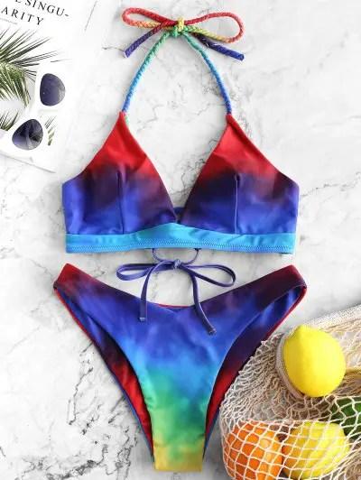 Halter Tie Dye High Leg Bikini Swimsuit