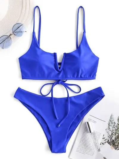 V wired Lace up Bikini Swimsuit