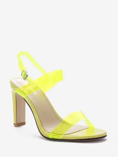 Neon PVC Ankle Strap Stiletto Heel Sandals