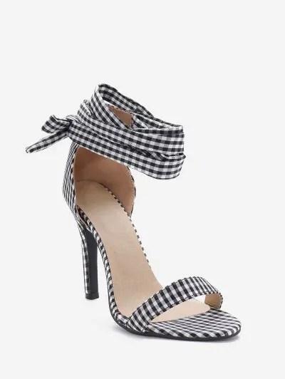 Plaid Print Tie Leg Stiletto Heel Sandals