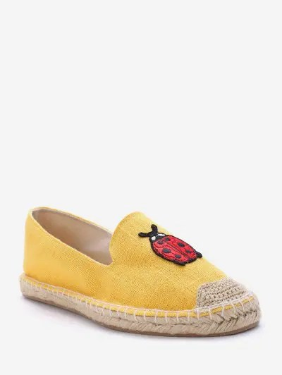 Pineapple Embroidery Espadrille Loafer Flats