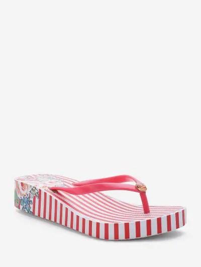 Floral Stripe Print Platform Thong Slides