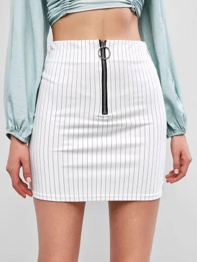 Zip Front Stripes Skirt