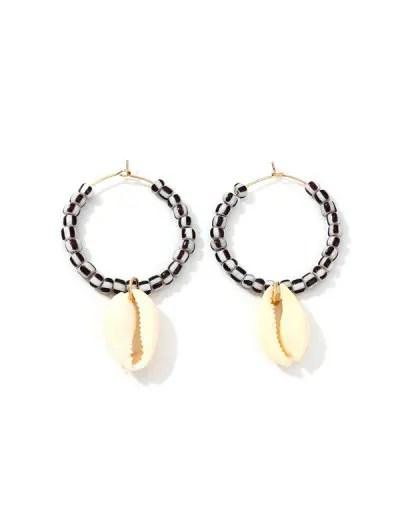 Shell Pendant Beaded Hoop Earrings