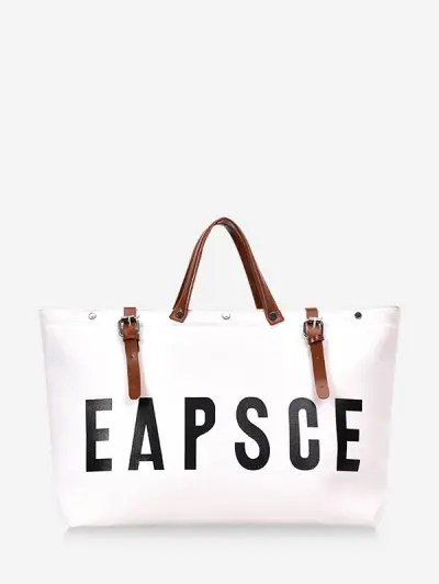Letter Graphic Large Capacity Canvas Tote Bag