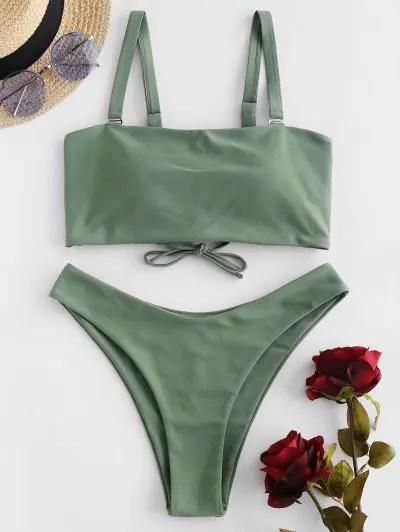 High Cut Lace Up Bikini Swimwear