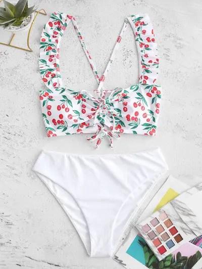 Cherry Print Lace Up Tankini Swimsuit