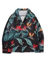 Tropical Plant Flower Print Chest Pocket Hawaii Beach Shirt