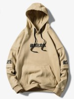 Letter Graphic Wave Print Faux Twinset Kangaroo Pocket Hoodie
