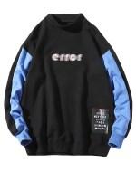 Error Letter Graphic Print Color Block Splicing Sweatshirt