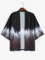 Forest Painting Print Open Front Kimono Cardigan