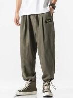 Solid Color Back Faux Pocket Applique Casual Pants