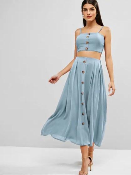 Mind and Beauty - Ensemble jupe bleue claire