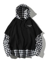 Letter Embroidery Plaid Splicing Faux Twinset Hoodie