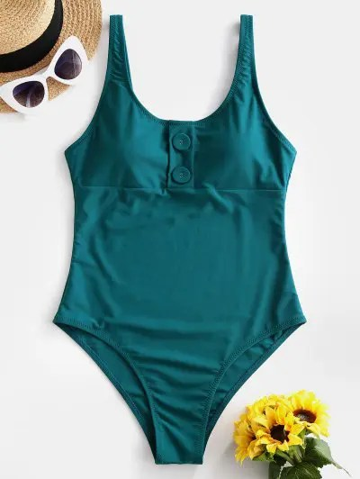 ZAFUL Buttoned Backless High Cut One-piece Swimsuit
