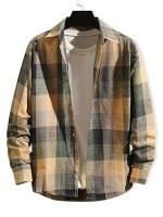 Checkered Print Long Sleeve Button Slim Fit Shirt