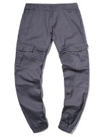Pleated Flap Pocket Solid Color Jogger Pants