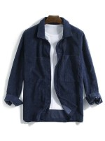 Solid Pocket Long Sleeve Button Cord Shirt