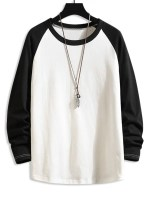 Color Blocking Drop Shoulder Long-sleeved T-shirt