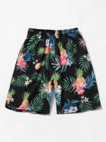 Tropical Flower Pineapple Print Vacation Shorts