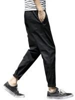 Leisure Solid Color Elastic Waist Pants