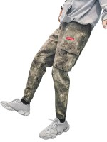 Casual Camo Letter Pattern Jogger Pants