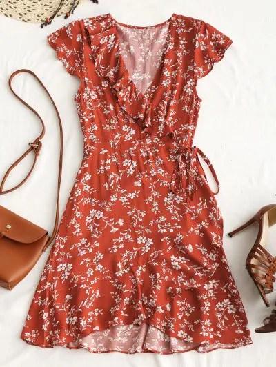 zaful Tiny Floral Ruffle Mini Wrap Dress