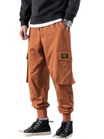 Letter Applique Tapered Cargo Jogger Pants
