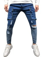 Pocket Decorated Ripped Casual Jeans