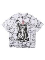 Animal Skull Star Graphic Marble Print T-shirt