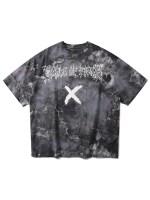 Letter Cross Print Short Sleeve T-shirt