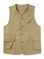 Plain Button Up Flap Pockets Outdoor Vest
