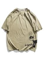 Lucky Cartoon Cat Graphic Basic T-shirt