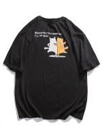 Slogan Cartoon Animal Graphic Basic T-shirt