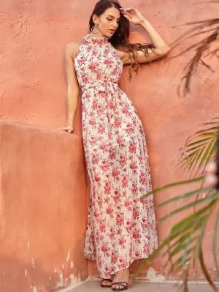 zaful Floral Print Belted Sleeveless Maxi Dress